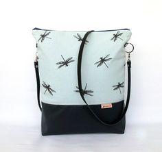 mint-dunkelgraue Schultertasche mit Libellen // mint and dark grey bag with dragonflies by   die :: frau :: kaliki via DaWanda.com