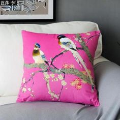 Bird flower body pillow for home decoration Chinese style
