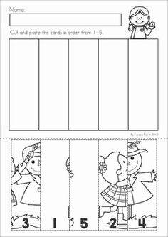 Autumn / Fall Math No Prep Worksheets & Activities. Number order puzzles cut and paste.