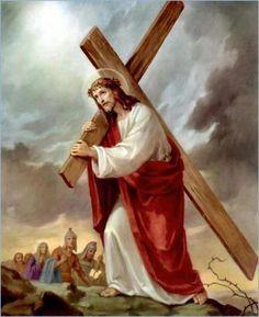 Jesus com a cruz às costas.
