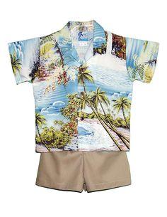 Toddler Baby Boys Aloha Hawaii Flower Palm Beach Shirt Shorts Casual Outfit Set