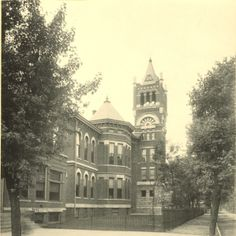 A photograph of old Central High School, established in 1854 as Evansville High School and renamed in 1918. The last class graduated in 1970 and a new Central High School was built at 5400 First Avenue.