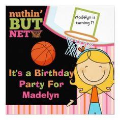 Girls Basketball Party Invitation #basketball #girls