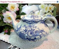 ON SALE Crown Ducal Bristol Blue Teapot Tea by TheVintageTeacup, $204.00