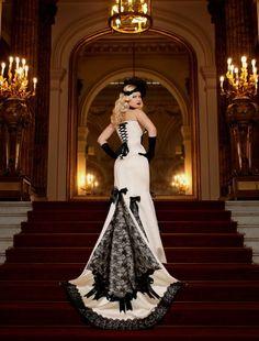 white #corset #wedding #dress, black #lace
