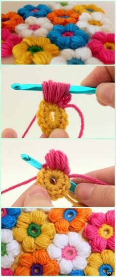 Video and photo tutorial for this puffy flower crochet stitch. Video and photo tutorial for this puffy flower crochet stitch. crochet stitches patterns Video and photo tutorial for this puffy flower crochet stitch. - Our crochet puff flower written patter Crochet Diy, Puff Stitch Crochet, Crochet Puff Flower, Crochet Simple, Crochet Motif, Crochet Crafts, Yarn Crafts, Crochet Flowers, Crochet Stitches