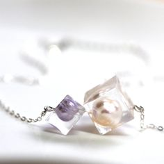 Pearl in cube resin necklace by Courage2Studio on Etsy