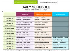 Pictures of Preschool Daily Routines | Arts Afterschool | Schedule and Supplies
