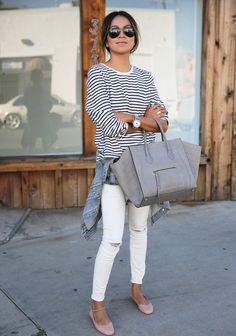 Porter le jean blanc avec une marinière