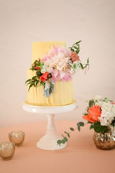 Yellow Wedding Cake with Flowers   photography by http://jacquelynnphoto.com/