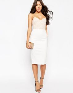 ASOS Lace Top Scuba Pencil Midi dress at asos.com c4acc67d2