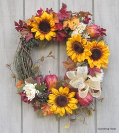Fall Wreath Sunflowers Flower Arrangement on by EverythingFloral