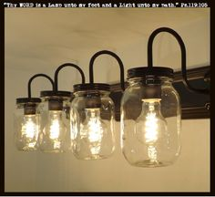 """FOUR bulbs of LIGHT all at 60 watts for cool Mason Jar Lighting Fixtures! * 30"""" Wide x 4.75"""" High Backer Plate * (4) Clear Heavy Quart Mason Jars * Projects 9"""" out from the wall x 10"""" Overall height *"""