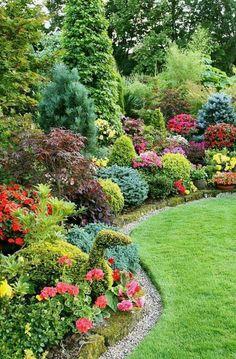 Front Yard Landscaping, Backyard Landscaping, Landscaping Design, Backyard Ideas, Fence Ideas, Backyard Patio, Wooded Backyard Landscape, Arborvitae Landscaping, Mulch Ideas