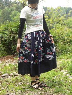 着物リメイク ゆかた ロングギャザースカート 2