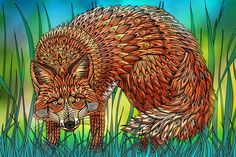 Red Fox  - West Coast Wildlife Illustrations on Behance by Sandy Pell and Steve Pell of Pellvetica. See the full set: https://www.behance.net/gallery/29874875/West-Coast-Wildlife-Illustrations