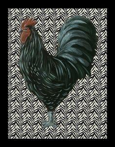 11x14 Black Rooster on Zebra print, kitchen art, rooster art, kitchen decor, kitchen wall art, rooster pictures, French kitchen. $20.00, via Etsy.