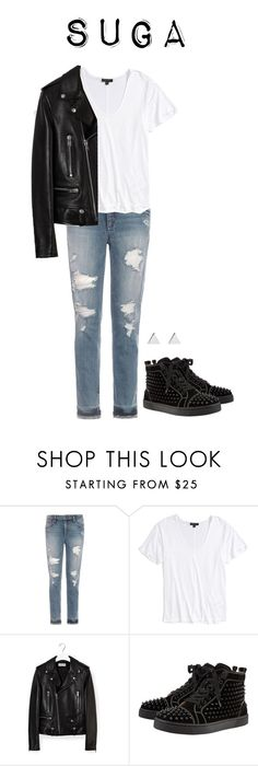 """Danger MV inspired (Suga version)"" by got7outfits ❤ liked on Polyvore featuring Joe's Jeans, Topshop, Yves Saint Laurent, Christian Louboutin and Jennifer Meyer Jewelry"