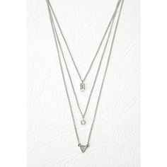 Forever 21 Layered Geo Charm Necklace ($5.90) ❤ liked on Polyvore featuring jewelry, necklaces, forever 21 necklace, lobster clasp charms, charm chain necklace, geometric triangle necklace and rhinestone jewelry