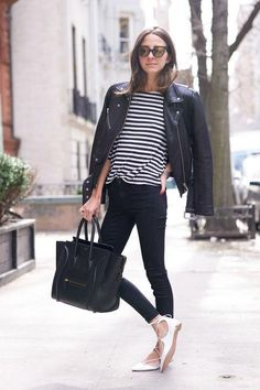 Make your basics work for fall by topping them off with a black leather jacket (get 44 more ideas by clicking)