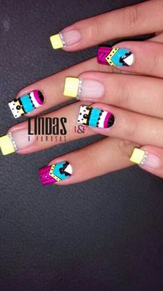 Nails L&F Crazy Nail Art, Crazy Nails, Cute Nail Art, Nail Art Diy, Cute Nails, Pretty Nails, Indian Nails, Manicure Y Pedicure, French Tip Nails