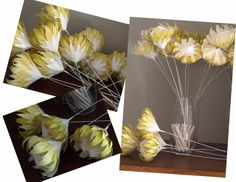 Mustard Coloured Paper Proteas for Mr Price Fashion Launch Handmade Flowers, Diy Flowers, Crochet Flowers, Wedding Flowers, Crepe Paper Flowers, Fabric Flowers, Foam Sheet Crafts, Yellow Paper, Origami Design