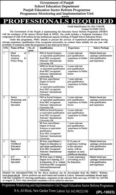 Jobs in Govt. of Punjab (Education Department)