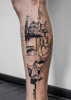 Illustration style calf tattoo - 50  Amazing Calf Tattoos  <3 <3