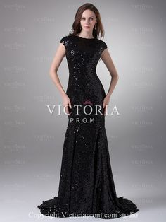 Elegant Black Mermaid Long With Train Sequin Cap Sleeve Prom Dress - US$132.99 - Style P0862 - Victoria Prom