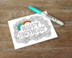 Greeting Card // Happy Birthday Color Your Own by EmDashPaperCo - seen on Paper Crave Bday Cards, Happy Birthday Diy Card, Banner Doodle, Karten Diy, Sharpie Art, Stationery Paper, Watercolor Cards, Diy Birthday, Copics