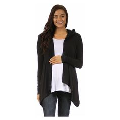 24/7 Comfort Apparel Women's 2-Pocket Hooded Maternity Shrug ($47) ❤ liked on Polyvore featuring maternity