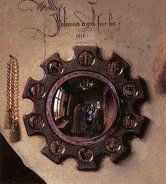 The Arnolfini Portrait (detail) 1434 -- Jan van Eyck -- Flemish -- The National Gallery -- London, England Jan Van Eyck, The Arnolfini Portrait, Ghent Altarpiece, Renaissance Kunst, National Gallery, Convex Mirror, Spiritus, Fine Art, Middle Ages