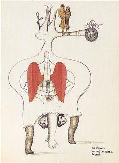 Yves Tanguy, Victor Brauner, Jacques Herold: Cadavre exquis. 1934, Bleistift und Collage auf Papier, 26 x 19,5 cm, Privatbesitz
