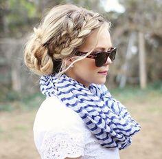 Cute braid into bun hairstyle