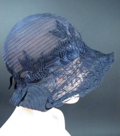 Jordan's Boston French Millinery Salon Vintage 1920's Blue Straw Cloche Hat