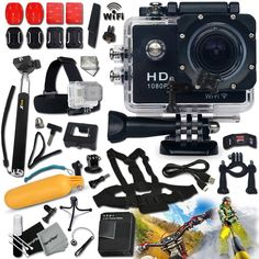 KoolCam AC300 HD 1080p H.264 Waterproof ACTION Camera / Camcorder w/ Wifi   SUPER Accessories Kit Includes: Head Strap   Chest Strap   Handheld Extendable MONOPOD Pole   Hermetically Sealed Floating Bobber   Adjustable Bike Mount   Long Life Battery   USB Charging Cable   External Charger   Adjustable Tripod Mount   2 Adhesive Flat Stickers / Flat Surface Mounts   2 Adhesive Curved Stickers / Curved Surface Mounts   Assorted Camera Mounts / Clips   an Extra Hard Waterproof Cover   Lens Cap…