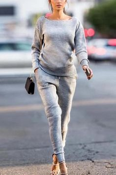 Women Set knitted suit Casual Tracksuit O-neck Long Sleeve - LassGirl Girly Outfits, Stylish Outfits, Cool Outfits, Fashion Outfits, Beautiful Outfits, Dress Outfits, Older Women Fashion, Womens Fashion, Fashion Trends