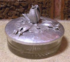 Hammered Aluminum Rodney Kent Hand Wrought Tulip Vanity Jar   eBay $37.99