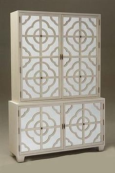 Beau Tall Two Piece Bleached Oak Cabinet With Eglomise Mirror Doors Behind  Lattice Square Tapered Legs And · Tv ArmoireCabinet ...