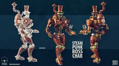 The Steampunk Game Boss  One of the enemies in an indie game I worked on.  Design, concept, modeling, texturing, rigging and animation all by me. Rendered in Marmoset Toolbag.