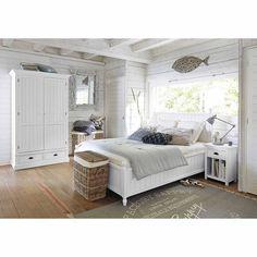 Letto bianco 140 x 190 in legno bianco