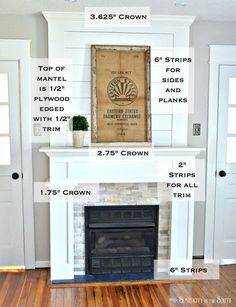 Trim work on a simple farmhouse style fireplace surround with shiplap. Such an easy way to do a DIY farmhouse style fireplace makeover on a budget with shiplap above the mantel (yes, mantel NOT mantle) and using stone tile and ply wood. Fireplace Redo, Room Remodeling, Diy Fireplace, Fireplace Design, Fireplace Remodel, Fireplace Makeover, Home Decor, Fireplace, Diy On A Budget