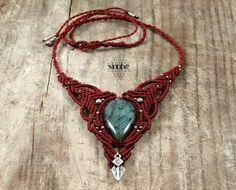 Macrame gemstone necklace Labradorite moonstone от BySinuhe