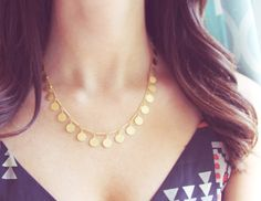 Confetti Necklace | Tiny Gold Coin Necklace | Statement Necklace by amandadeer on Etsy https://www.etsy.com/listing/190673860/confetti-necklace-tiny-gold-coin