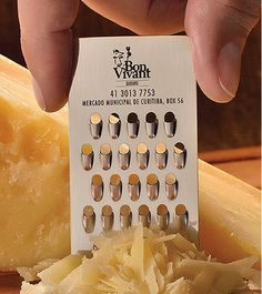 Business Card Is A Mini Cheese Grater. OmGosh! I need one of these! Genius Ad & Marketing...BRAVO!