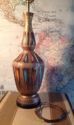 Vtg Mid Century Danish Modern 3-Way Ceramic Table Lamp Aqua Orange Gold Astro