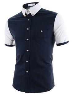 "The ""Joust"" 2-Tone Short Sleeve Dress Shirt – Tattee Boy Clothes"