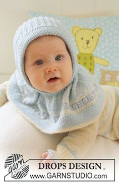 Jonas / DROPS Baby 19-32 - Gestrickte DROPS Jacke mit Norwegermuster, Hose, Mütze und Socken  in Baby Merino.