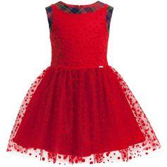 Junior Gaultier Red Spot Tulle Dress with Tartan at Childrensalon.com
