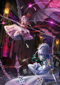 Sakuya Izayoi, Remilia Scarlet (Touhou 6 - Embodiment of Scarlet Devil)